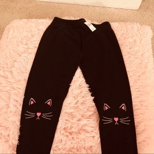 Black Sweatpants with Cat print by Justice